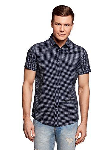 oodji Ultra Hombre Camisa Entallada con Estampado Pequeño, Azul, сm 44 / ES/XL