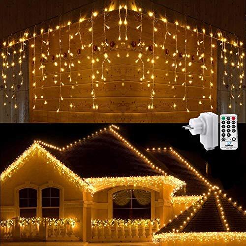 Geemoo Luci Natale Esterno Cascata, 9M 360 LED Tenda Luminosa Bianco Caldo, Luci Nataliazie con Telecomando, 8 modalità, Luci Decorazione Natale per Feste, Finestra, Casa, Cortile