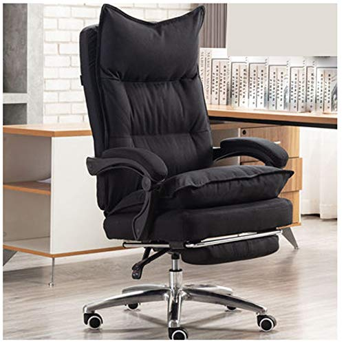 Silla de oficina de estudio silla de ordenador silla de tela jefe reclinable silla de oficina silla giratoria cómoda casa juego almuerzo descanso asiento negro