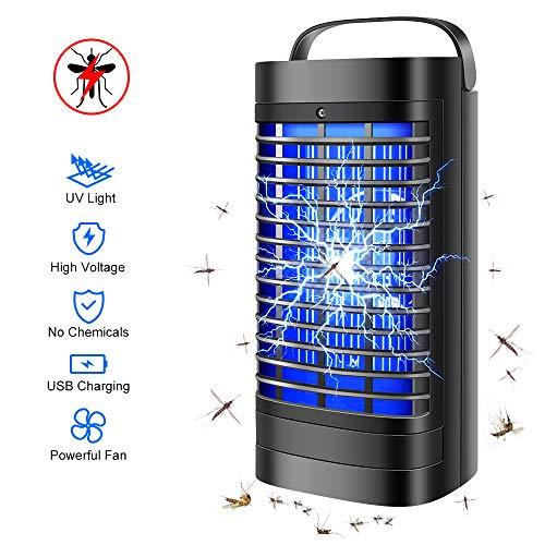 laprado Insektenvernichter Elektrisch, Mückenlampe Campinglampe mit UV Licht USB Anschluss Bug Zapper 500 sq.ft Abdeckung Physikalische Methode Mückeninsekten Loswerden Mückenkiller Campinglaterne