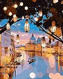 TONZOM Kits de Pintura por Números, Pintar por Numeros para Niños Adultos Principiantes Venecia Nocturna 16x20 Pulgadas Sin Marco