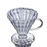 ZCXR Cafetera, manual de café gotero cafetera servidor de gama de café con mango y filtro de vidrio jarra de vidrio borosilicato, con papel de filtro (B,360 ml)