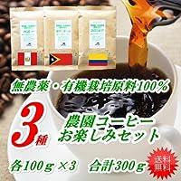 珈琲屋ほっと 無農薬栽培3つの農園コーヒーお楽しみセット3種 各100g 合計300g コロンビア、ペルー、東ティモール 細挽き