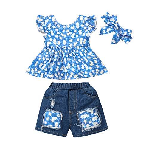 2021 Maluch niemowlę dziewczynki lato kwiatowy marszczone guziki topy + podarte dżins szorty stroje