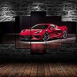 GSDFSD Lot De 5 Peintures à l'huile Modernes Voiture Chevy Corvette Stingray C8 2020 CéLèBre Art Contemporain Photographie Décoration De La Maison Mode,Size 100x55cm