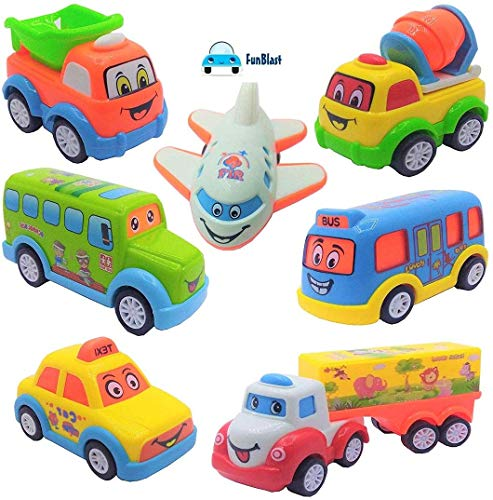 FunBlast Unbreakable Pull Back Vehicles | Push and Go Crawling Toy Car for Kids & Children, Friction Power Car Toy for 3+ Years Old Boys|Girls (Set of 7)