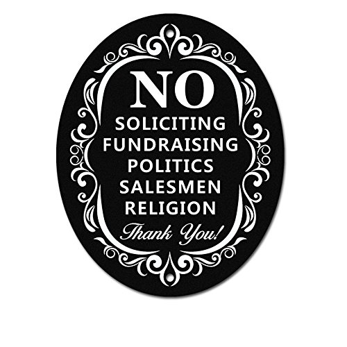 """No Soliciting Sign for Home and Business   Stylish Laser Cut Oval 5"""" X 4"""" Heavy Duty Sintra PVC   Outdoor Indoor, Use with Door Knockers and Bell (Sintra PVC Plastic)"""