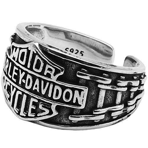 AMY-XCQ Ring S925 Sterling Silver Letter Locomotive Style Personality Harley Opening Retro Thai Silver Men