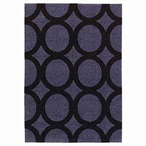 IKEA ASIA MEJLS - Felpudo, diseño de círculos, Color Gris y Negro