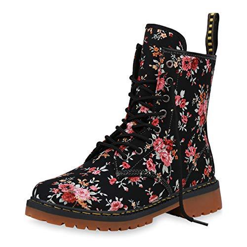 SCARPE VITA Geschnürte Damen Worker Boots Profil Sohle Stiefel Stiefeletten 188261 Schwarz Muster 37