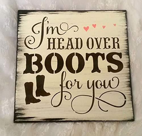 CELYCASY Wood Sign, Ik ben hoofd over laarzen voor u tekenen, country boy, cowboy, bruiloft teken, barteken, voor mannen voor vrouwen voor haar schattige