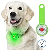 Fttouuy Sicherheits LED Blinklicht für Hunde, Katzen - USB Wiederaufladbar LED Licht Leuchtanhänger Hund, 3 Blinkmodis wasserdichte Sicherheit Haustier Lichter(Grün)