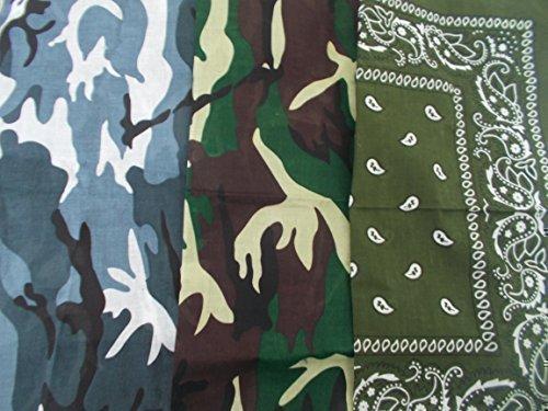 Bandanas Armée Vert Camouflage, Gris Camouflage, Vert Kaki 53cm Large (Lot de 3)