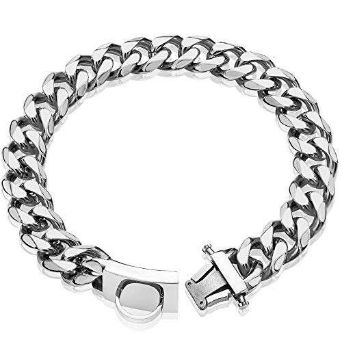 """W/W Lifetime Dog Chain Collar Walking Metal Choke Collar with Design Secure Buckle, Silver Cuban Link Strong Heavy Duty Chew Proof for Large Dogs American Pitbull German Shepherd(19MM, 21"""")"""