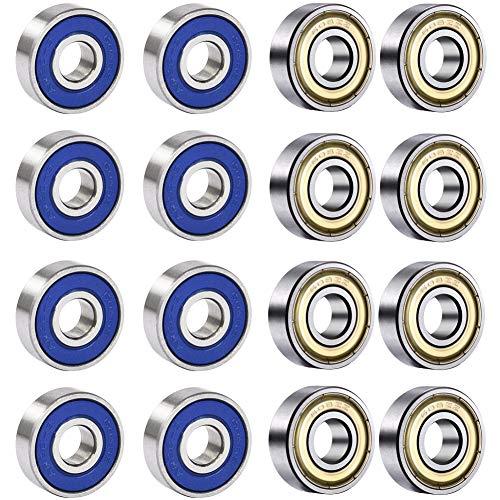 BESTZY 20 Pack 608 ZZ Kugellager 608RS ABEC 9 Metall Double Shielded Miniatur Rillenkugellager reibungsfreie für Skateboard, Roller, Inline Skates und Fidget Spinner Speilzeug (8mm x 22mm x 7mm)