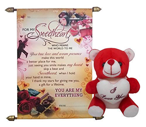 Natali Love Gift Combo - Love Message Scroll Card & Love Quote Soft Teddy