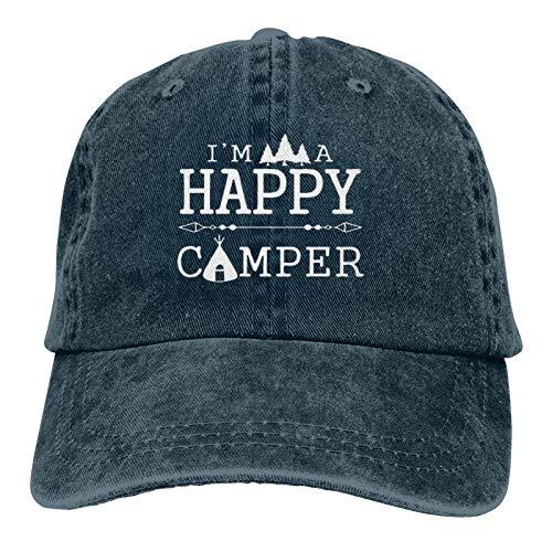 """N  A Gorra de béisbol con diseño de """"I'm A Happy Camper Baseball Dad Gorras Deportes, gorra de béisbol de mezclilla, gorra de béisbol, ajustable, casqueta para papá, azul marino"""