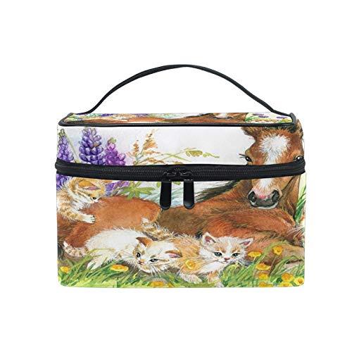 Pixiuxiu - Bolsa de maquillaje, diseño de caballos y gatos, flores, con asa de viaje, con compartimentos para niñas y mujeres