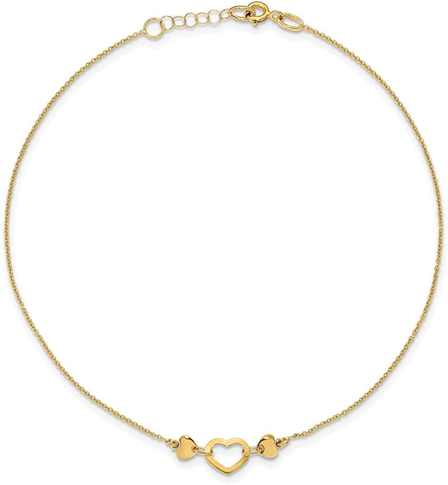 14k Yellow Gold Heart Anklet Chain, 10
