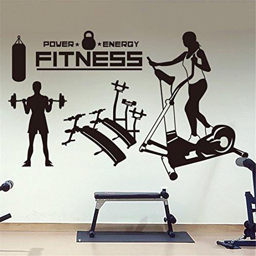 Muurstickers Home Muurstickers Gym School Gewichtsverlies Oefening Sporten Glas raamdecoratie Stickers Bodybuilding Gewichtheffen Hardlopen Fitness Apparatuur In Black