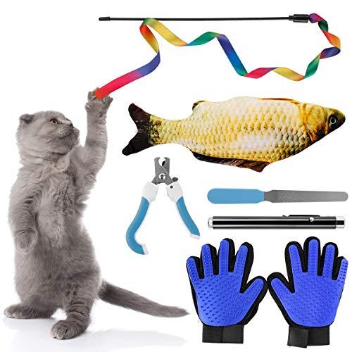 6pcs Cat Supplies Gift Packs , Fish Catnip Interactive Teaser Rainbow Wand String Keep Cat Busy,Grooming Glove - Gentle Deshedding Brush Glove - Efficient Pet Hair Remover Mitt Cat Toys for Kitten