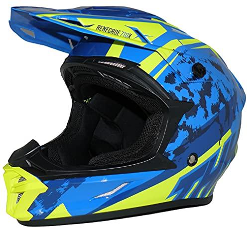 protectwear R710X-XL - Casco da cross, colore: Blu/Giallo