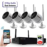 [2 Way Audio, Long Range] Wireless Security Camera System with 1TB Hard Drive, 8 Channel NVR 4Pcs 1080P 2.0MP Night Vision WiFi IP Security Surveillance Cameras Home Outdoor (CAM-WIFI-4CH-A-2MP-168)