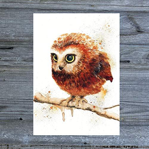 Eulen Postkarte Aquarell - Tiny Tami Eule Kauz Uhu - handmade Aquarell Grußkarte