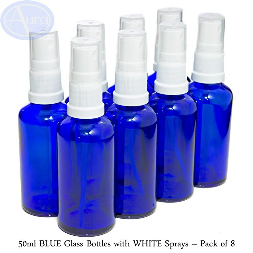 8er-PACKUNG - 50ml BLAUGLAS-Flaschen mit Weiß Sprüh-ZERSTÄUBERN. Ätherisches Öl/Verwendung in Aromatherapie