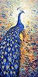 Pintura animal abstracta impresa en el cartel mural, hermosa imagen de pavo real impresa en el lienzo 50x100cm