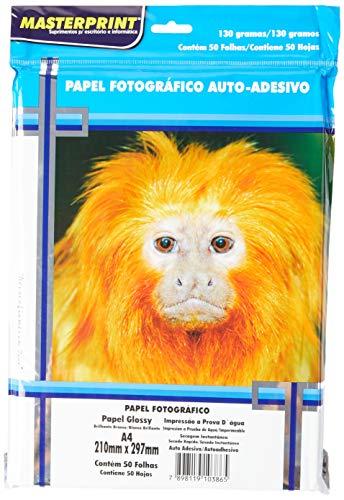 Papel Fotográfico, Inkjet, A4, Glossy, Adesivo 130 g, Masterprint, 302010041, Multicor, pacote de 50