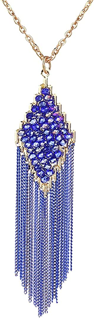 Redangel Women's Handmade Long Tassel Necklace Crystal Faceted Beads Y Shape Necklaces for Women Fashion Jewelry Bohemian Statement Collection Cable Link Chain Square Pendant