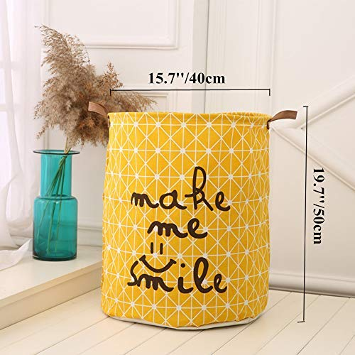 Cesta amarilla plegable de Lino y algodón