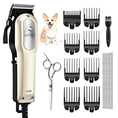 OMORC Professionale Tosatrice per Cani, Tosatrice per Cani Gatto, Tagliacapelli Elettrico Kit Toelettatura, Bassa Vibrazione a Basso Rumore