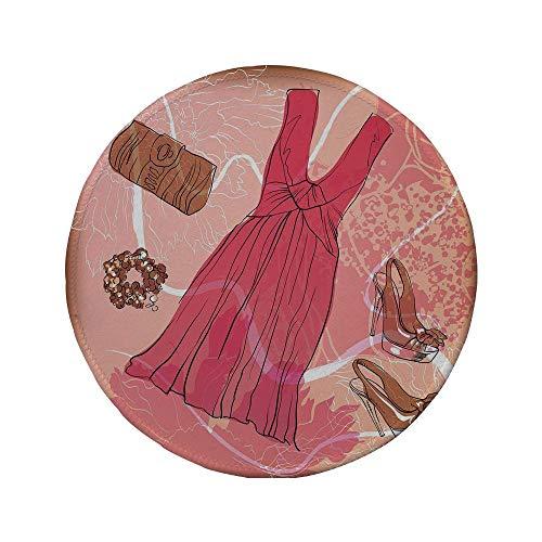 Rutschfreies Gummi-rundes Mauspad Absätze und Kleider Frühling inspirierte florale abstrakte Hintergrund rosa Kleid Schuhe Armband dekorativ rosa braun weiß 7,87 'x 7,87' x 3 mm