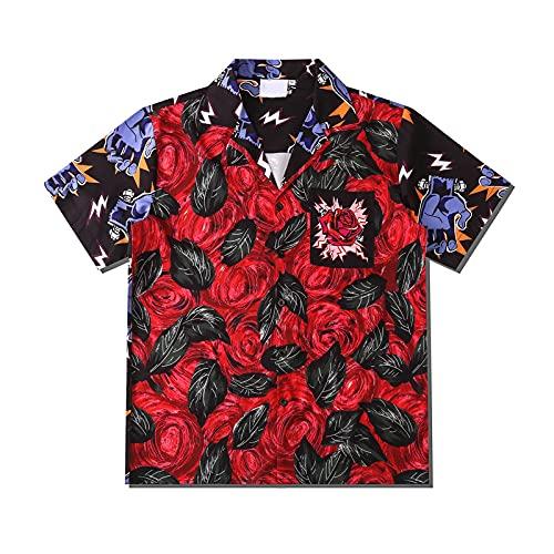 RuaRua Hawaii Hemd Männer,Patchwork Rose Bedruckt,Oversized Herrenhemden,Streetwear Bluse Für Herren,Sommer Casual Funky Top,Kurzarm Button Down,Beach Party,Rot,XL
