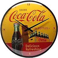 Nostalgic-Art Coca-Cola-In Bottles Yellow Reloj Decorativo de Pared, Metal, Amarillo, Rojo, 31.00x31.00x5.00 cm