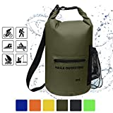 Waterproof Dry Bag-10L/20L/30L Roll Top Compression Sack with shoulder straps and Front Zippered Pocket Keeps Gear Dry for Boating, Camping, Kayaking, Fishing,Swimming and Hiking Army Green/20L