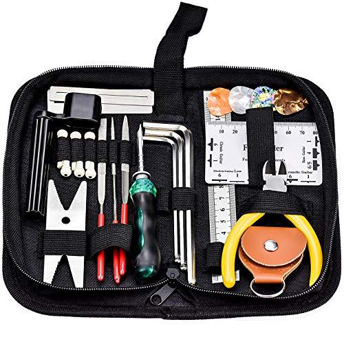 ZHENA 26 Stk Gitarre Reparatur Pflege Werkzeuge, Gitarren Wartung Reinigung Set, Saiten Organizer, Plektren, Feilen,Saitenkurbel, Schraubwerkzeuge für Ukulele Bass Mandolinen Banjo