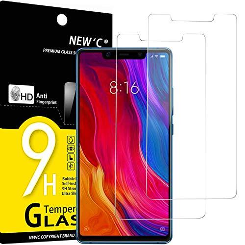 NEW'C 2 Unidades, Protector de Pantalla para Xiaomi Mi 8 SE, Antiarañazos, Antihuellas, Sin Burbujas, Dureza 9H, 0.33 mm Ultra Transparente, Vidrio Templado Ultra Resistente