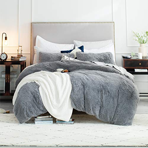Bedsure Fluffy Duvet Cover Set Twin Size (68x90 Inches) - Luxury Ultra Soft Plush Shaggy Duvet Cover - Fluffy Comforter Bed Sets 2 Pieces (1 Duvet Cover + 1 Pillow Shams), Grey