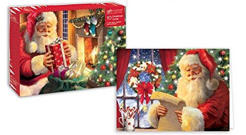 Pack de 10 tarjetas de Navidad tradicional de Papá Noel calcetín de Papá Noel de Navidad relleno: Amazon.es: Oficina y papelería