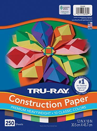 "Tru-Ray (P6589-4) Heavyweight Construction Paper Bulk Assortment, 10 Assorted Colors, 12"" x 18"", 250 Sheets"