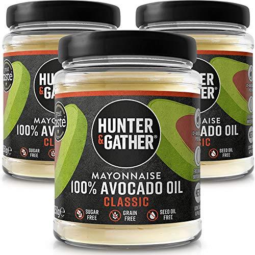 Hunter & Gather Mayonesa de Aceite de Aguacate Puro 3 x 250g | Hecho con Yema de Huevo de Gallina Campera Inglesa | Paleo, Keto, Libre de Gluten y Azúcar | Libre de Saborizantes Artificiales