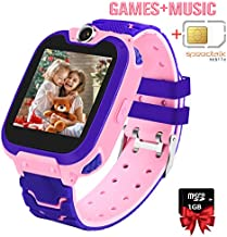 Smart Watch for Kids with SIM Card/1GB SD Card ,7 Puzzle Games Music Player Camera Phone Call SOS Recorder for 3-14 Years Girls Boys,1.54-inch Color Large Touch Screen for Children Birthday Gift