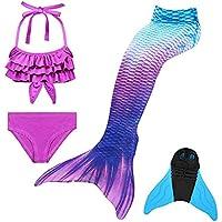 DNFUN Traje de baño de Cola de Sirena para niñas con Princesa de Sirena Traje de baño de Cosplay para Nadar con Bikini y Monofin, Juego de 4