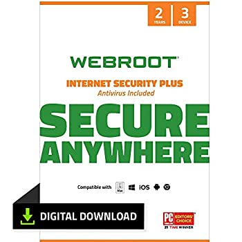 Webroot SecureAnywhere Internet Security & Virus Protection Software 2021 for 3 Devices + Identity Protection Secure Web Browsing Password Manager iPhone & Android | 2 Year [PC Download]