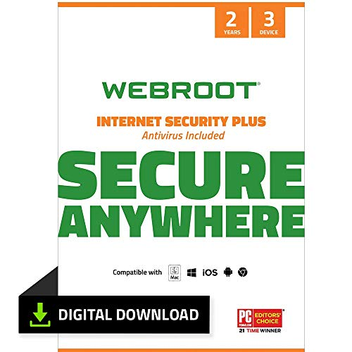 Webroot Internet Security Plus 2021 |Antivirus Software for 3 Device | 2 Year | PC Download |Includes Android, IOS and Password Manager Encryption