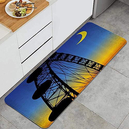 ZORMIEY Alfombras Cocina Lavable Antideslizante Alfombrilla de Goma Alfombra de Baño 45x120cm,Silueta de Paseo en el Parque de Atracciones de la Noria en el Cielo Nocturno de Ombre con Media Luna
