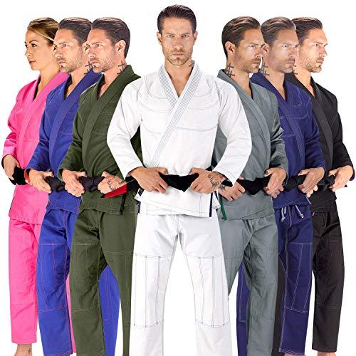 BJJ GI for Men Elite Sports IBJJF Kimono BJJ Jiu Jitsu Lightweight GIS W/Preshrunk Fabric & Free Belt (White, A0)